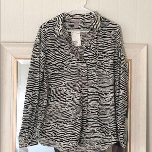 H&M Zebra Print Burton-Down Blouse NEW WITH TAGS